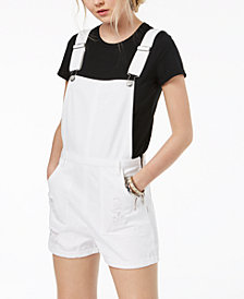 Tinseltown Juniors' Ripped Cotton Denim Shortalls