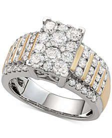 Diamond Multi-Cluster Ring (2 ct. t.w.) in 14k Gold & White Gold