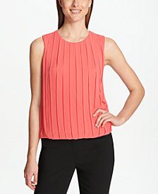 Calvin Klein Pleated-Front Bubble Shell