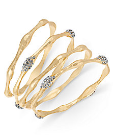 I.N.C. Gold-Tone 4-Pc. Set Crystal Pavé Bangle Bracelets, Created for Macy's