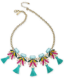 "I.N.C. Gold-Tone Multi-Stone & Tassel Statement Necklace, 18"" + 3"" extender, Created for Macy's"