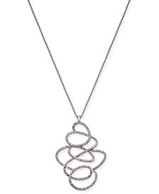 "I.N.C. Silver-Tone Pavé Tangle Pendant Necklace, 30"" + 3"" extender, Created for Macy's"