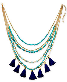 "I.N.C. Gold-Tone Bead & Tassel Multi-Layer Necklace, 16"" + 3"" extender, Created for Macy's"