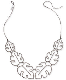 "I.N.C. Silver-Tone Pavé Palm Leaf Statement Necklace, 20"" + 3"" extender, Created for Macy's"
