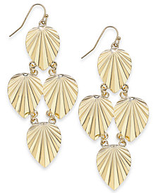 Thalia Sodi Gold-Tone Palm Leaf Chandelier Earrings, Created for Macy's