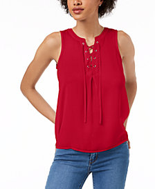 Maison Jules Sleeveless Lace-Up Top, Created for Macy's