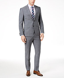 HUGO Men's Extra-Slim Fit Gray Crosshatch Suit Separates