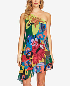 CeCe Floral-Print One-Shoulder Dress