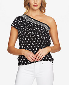 CeCe Ruffled One-Shoulder Top