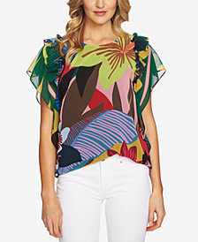 CeCe Printed Ruffled-Sleeve Top