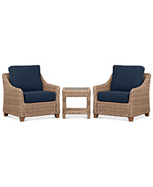 Willough Outdoor 3-Pc. Set (2 Club Chairs & 1 End Table) with Custom Sunbrella® Colors, Created for Macy's