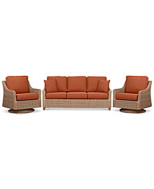 Willough Outdoor 3-Pc. Set (1 Sofa & 2 Swivel Gliders), Created for Macy's