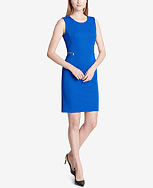 Calvin Klein Jacquard Zip-Trim Sheath Dress