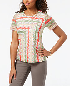 Alfred Dunner Petite Embellished Textured Knit Top