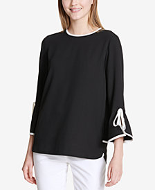 Calvin Klein Colorblocked-Trim Bell-Sleeve Top