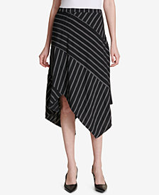 Calvin Klein Striped Asymmetrical-Hem Skirt