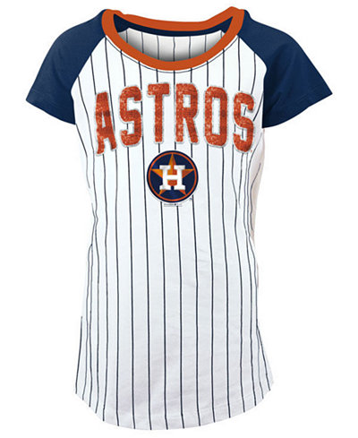 5th & Ocean Houston Astros Sequin Pinstripe T-Shirt, Girls (4-16)