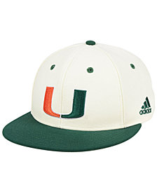 adidas Miami Hurricanes On-Field Baseball Fitted Cap