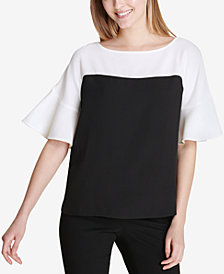 Calvin Klein Colorblocked Flared-Sleeve Top