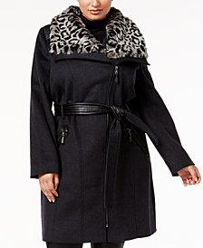Via Spiga Plus Size Asymmetrical Faux-Fur-Collar Belted Coat