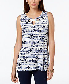 Alfani Petite Printed Grommet-Neck Top, Created for Macy's