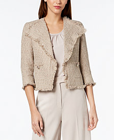Anne Klein Frayed Tweed Jacket