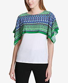 Calvin Klein Printed-Overlay Top