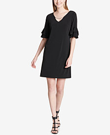 Calvin Klein Hardware Ruffle-Sleeve Dress