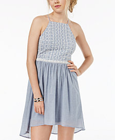 Teeze Me Juniors' Eyelet-Trim High-Low Dress