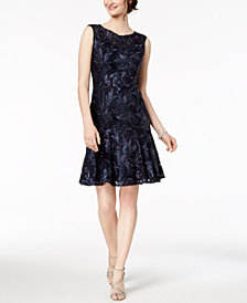 Adrianna Papell Sequined Lace Trumpet Dress