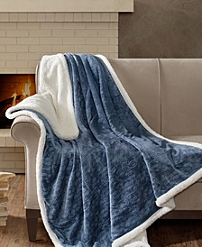"Elma Oversized Reversible 60"" x 70"" Embossed Plush to Berber Throw"