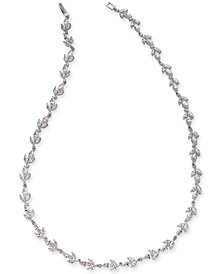 "Danori Silver-Tone Crystal Flower 15-1/2"" Collar Necklace, Created for Macy's"