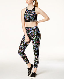 Calvin Klein Performance Botanic Racerback Sports Bra & Ankle Leggings