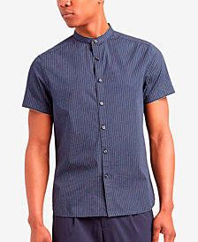 Kenneth Cole New York Men's Band-Collar Micro Stripe Shirt