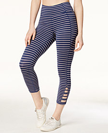 Calvin Klein Performance Striped Cutout Cropped Leggings