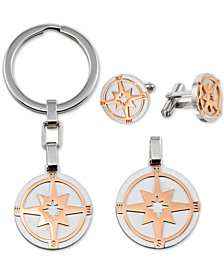 Men's 3-Pc. Set Star Pendant Necklace, Cuff Links & Key Chain in Stainless Steel