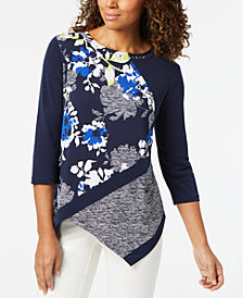 Alfred Dunner Petite Asymmetrical Colorblocked Top