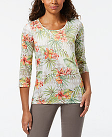 Alfred Dunner Petite Spliced Floral-Print T-Shirt