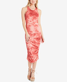 Jessica Simpson Juniors' Jesla Printed Ruched Tie-Back Midi Dress