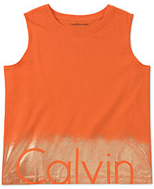 Calvin Klein Border Print Sleeveless Cotton T-Shirt, Big Girls