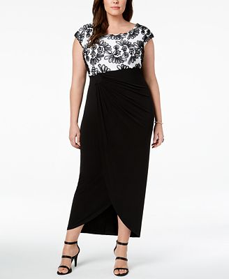 Connected Plus Size Soutache Draped Gown Dresses Women Macy S