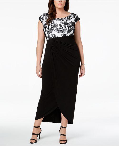 Draped Gown Connected Ivory Soutache Size Plus Black nR8A0vqUA