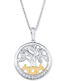 "Diamond Family Tree Mom 18"" Pendant Necklace (1/10 ct. t.w.) in Sterling Silver and 14k Gold"