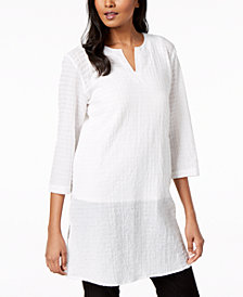 Eileen Fisher Organic Cotton Split-Neck Tunic, Regular & Petite