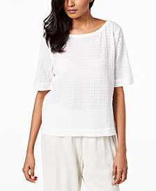 Eileen Fisher Organic Cotton Elbow-Sleeve Top