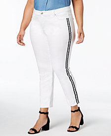 I.N.C. Plus Size Ribbon-Trim Skinny Ankle Jeans, Created for Macy's