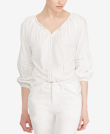 Lauren Ralph Lauren Petite Crinkled Cotton Top