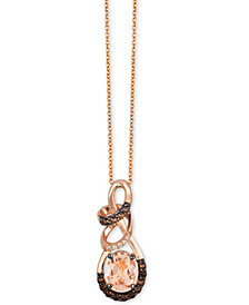 "Le Vian Chocolatier® Multi-Gemstone (9/10 c.t. t.w.) and Diamond Accent 18"" Twisty Pendant Necklace in 14k Rose Gold"