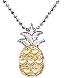 "Alex Woo Pineapple 16"" Pendant Necklace in Sterling Silver & 18k Gold"