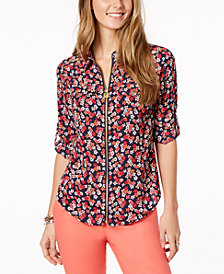 MICHAEL Michael Kors Lock Zip-Front Shirt in Regular & Petite Sizes, Created for Macy's
